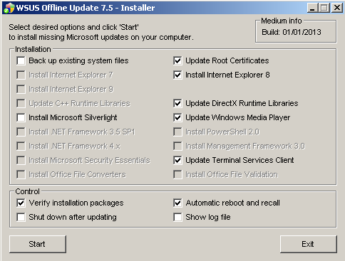 UpdateInstaller's main window