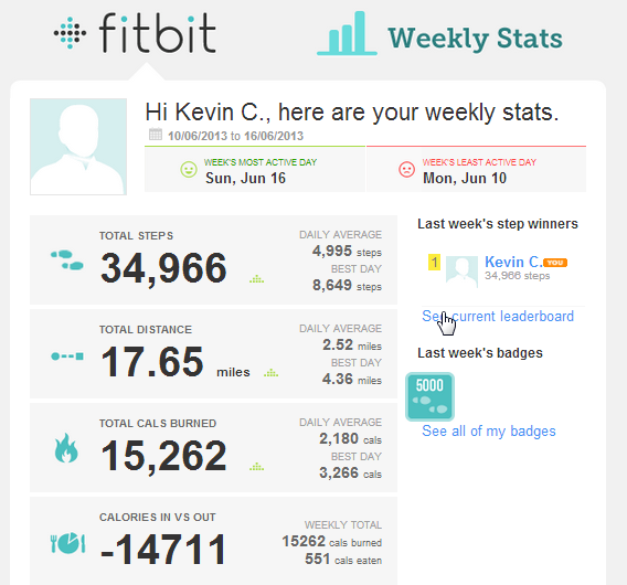 FitBit's Weekly Recap Email