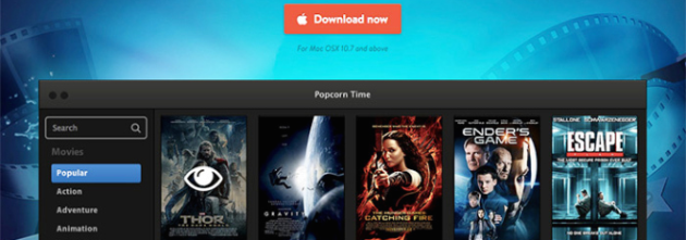 Popcorn Time, described as Netflix for pirated films
