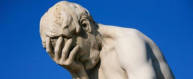 Paris Tuileries Garden Facepalm statue