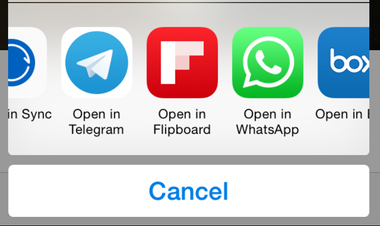 iOS 8 Open In Options