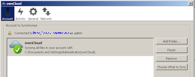 OwnCloud Sync Client Running On Windows XP