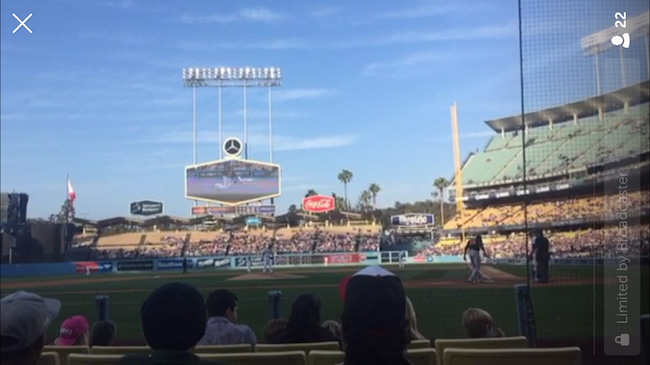 Periscope broadcasting from a baseball game