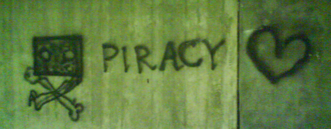 Piracy Spraypainted on a Wall