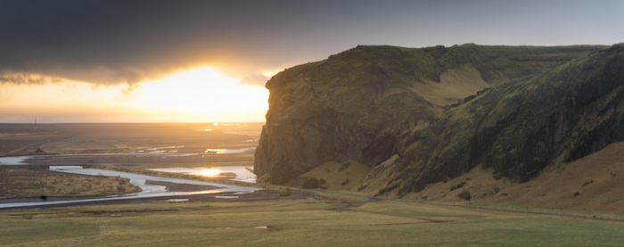 Sun Sets Behind Icelandic Hill