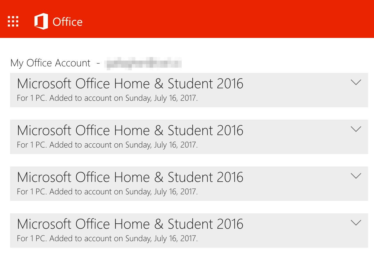 Office 2016 My Account
