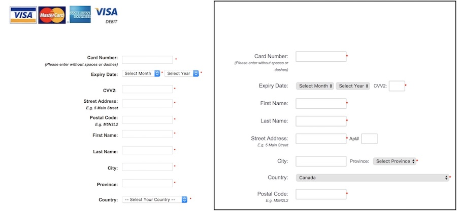 Public Mobile Credit Card Entry Forms