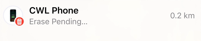 """iPhone Find My with """"Erase Pending"""" displayed."""